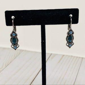 1928 Silver Blue Crystal Wire Earrings